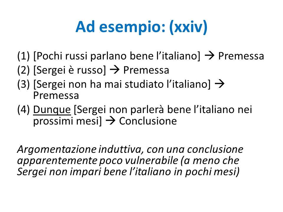Ad esempio: (xxiv) [Pochi russi parlano bene l'italiano]  Premessa